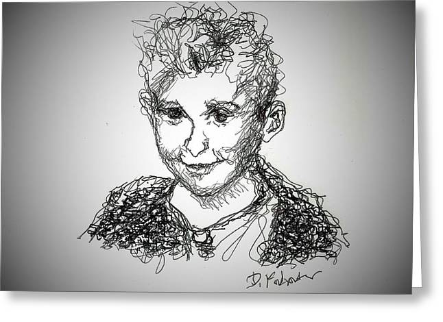 Greeting Card featuring the drawing The Little Rapper by Denise Fulmer