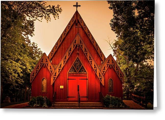 The Little Red Church Greeting Card by Art Spectrum