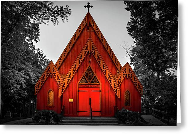 The Little Red Church In Black And White Greeting Card by Art Spectrum