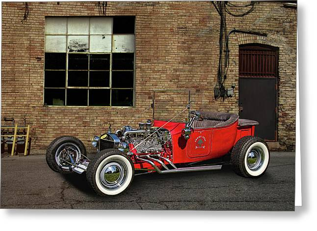 The Little Red Hot Rod Greeting Card