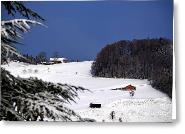 The Little Red Swiss Chalet - Winter In Switzerland Greeting Card