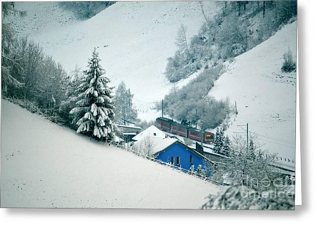 The Little Red Train - Winter In Switzerland  Greeting Card by Susanne Van Hulst