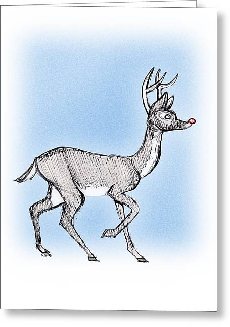 Greeting Card featuring the drawing The Little Reindeer  by Keith A Link