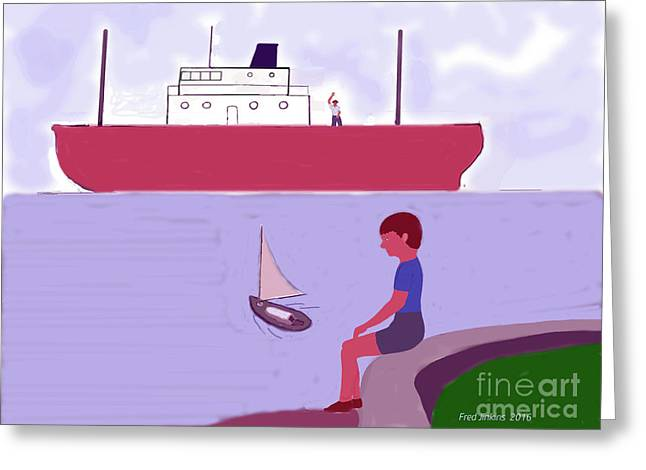 The Little Sailboat Greeting Card by Fred Jinkins