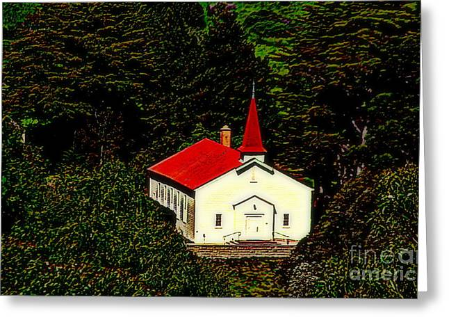 Red Steeple Red Roof White Church Near Sausalito California Greeting Card
