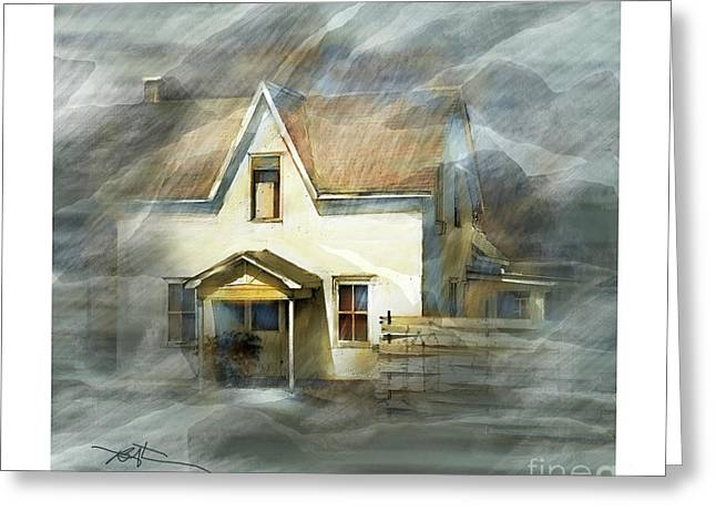Abandoned Houses Mixed Media Greeting Cards - The Little White House On Hwy 6 Greeting Card by Bob Salo