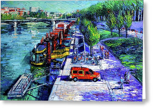 The Lively Banks Of Lyon - Modern Impressionist Palette Knife Oil Painting On Canvas Greeting Card