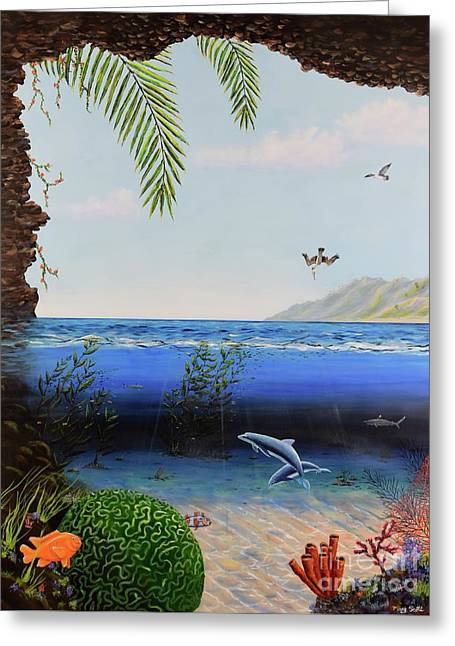 Greeting Card featuring the painting The Living Ocean by Mary Scott