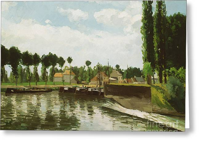 The Lock At Pontoise Greeting Card by Camille Pissarro
