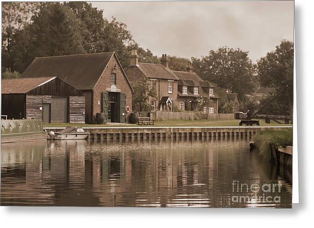 The Lock Keeper's Cottage Greeting Card by Terri Waters