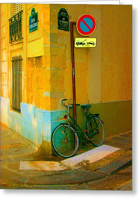 The Locked Bike Greeting Card by Dennis Curry