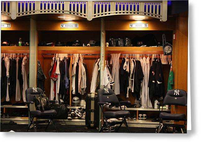 The Locker Room At Yankee Stadium Greeting Card by Michael Albright