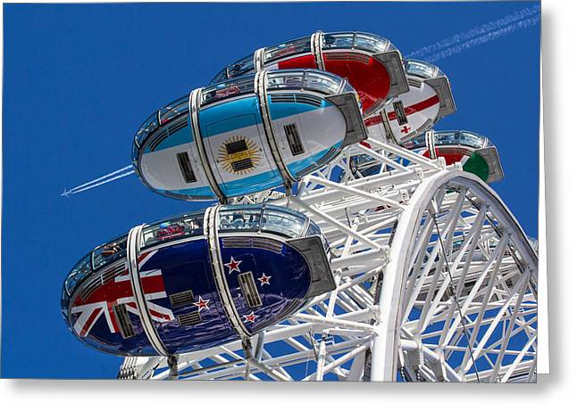The London Eye And Jet Aircraft Greeting Card