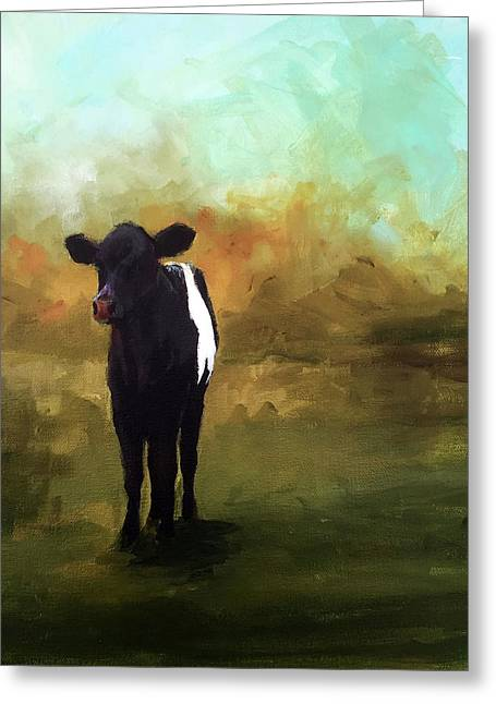 The Lone Beltie Greeting Card by Cari Humphry