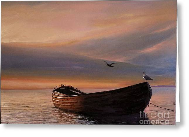 Greeting Card featuring the painting A Lone Boat by Rosario Piazza