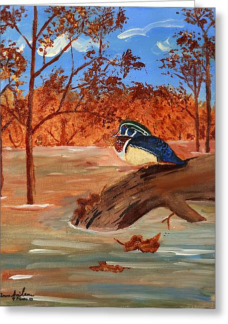 Greeting Card featuring the painting The Lone Duck by Swabby Soileau