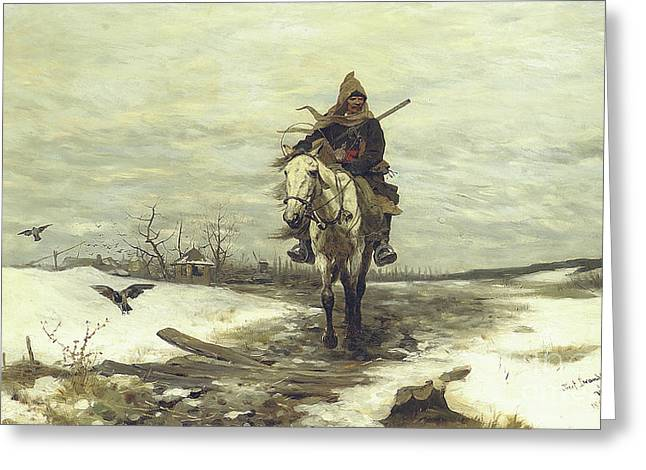 The Lone Hunter Greeting Card by Jozef Brandt