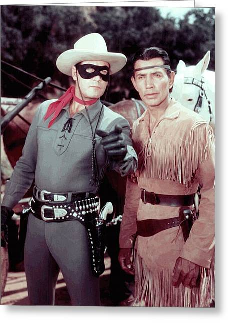 The Lone Ranger And Tonto Clayton Moore Greeting Card by Peter Nowell