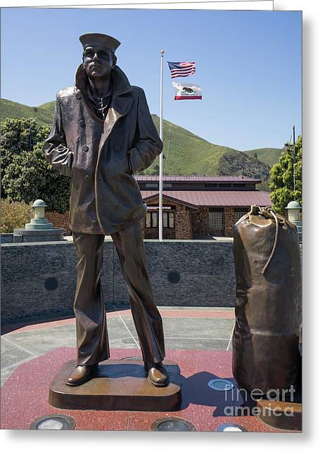The Lone Sailor Memorial At The San Francisco Golden Gate Bridge Dsc6152 Greeting Card