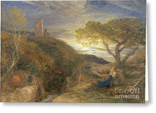 Samuel (1805-81) Greeting Cards - The Lonely Tower Greeting Card by Samuel Palmer