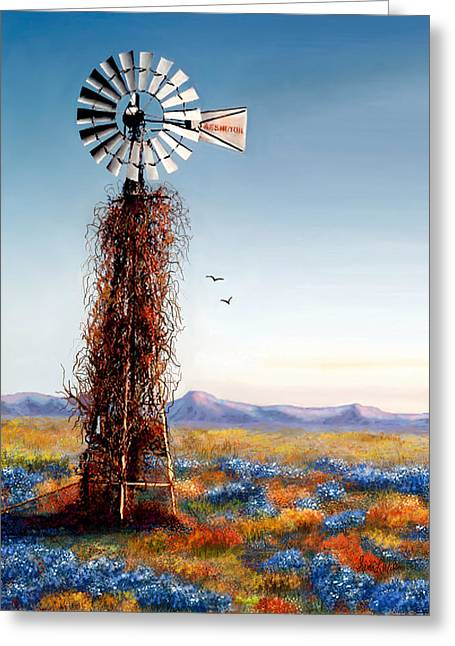 Greeting Card featuring the painting The Lonely Windmill by Sena Wilson