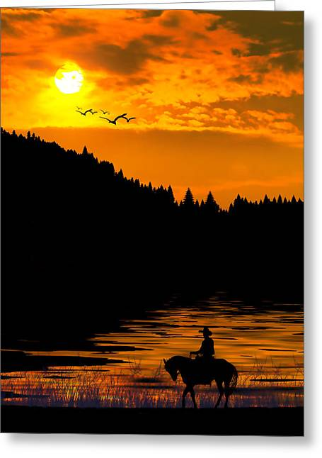 Greeting Card featuring the photograph The Lonesome Cowboy by Diane Schuster