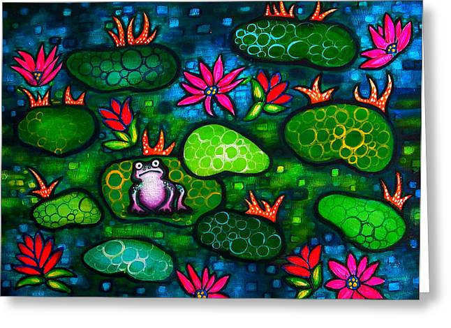The Lonesome Frog Greeting Card by Brenda Higginson