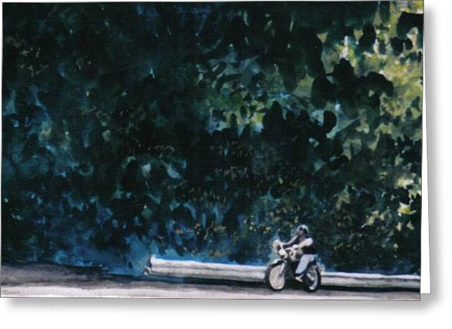 the Long Ride Greeting Card by Saundra Lee York