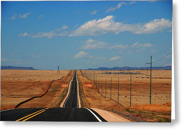 The Long Road To Santa Fe Greeting Card by Susanne Van Hulst