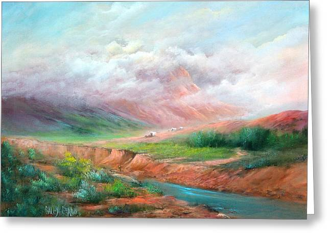 The Long Trail Greeting Card by Sally Seago