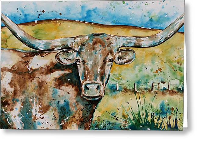 The Longhorn  Greeting Card by Afton Ray-Rossol