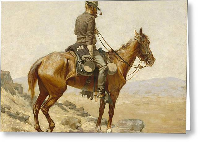 The Lookout Greeting Card by Frederic Remington