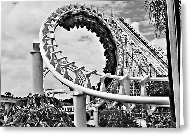 Theme Parks Greeting Cards - The Loop Black and White Greeting Card by Douglas Barnard