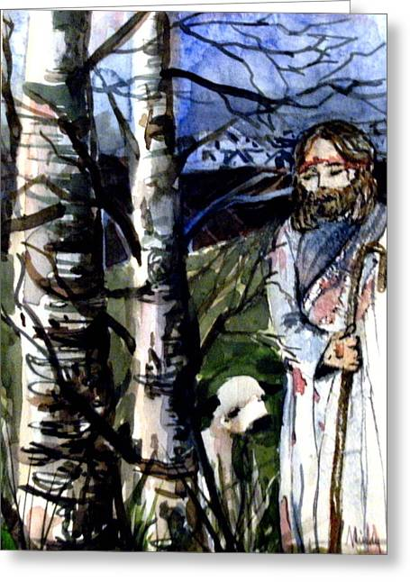 The Lord Is My Shephard Greeting Card by Mindy Newman
