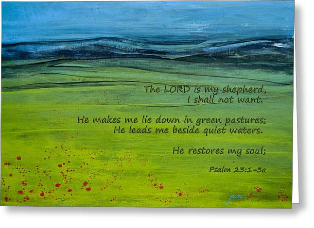 The Lord Is My Shepherd Greeting Card by Jani Freimann