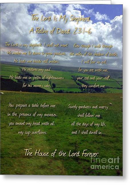 The Lord Is My Shepherd Greeting Card by Joan-Violet Stretch