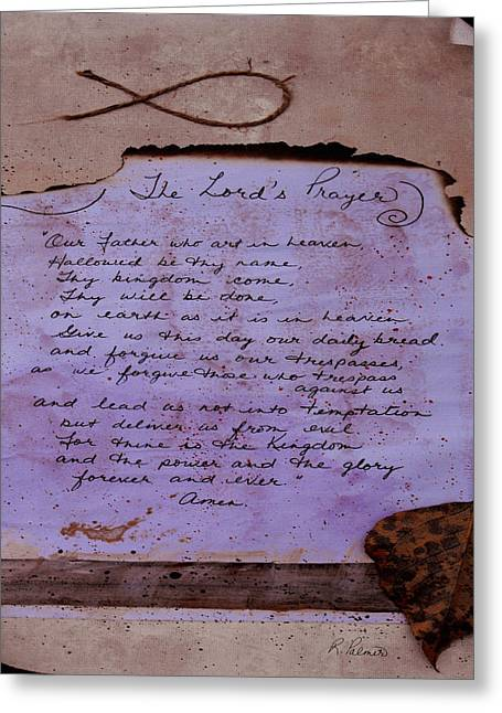 Jesus Mixed Media Greeting Cards - The Lords Prayer Collage Greeting Card by Ruth Palmer