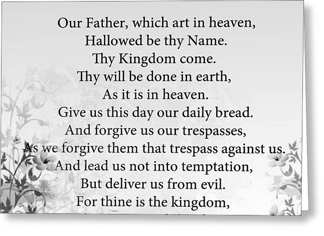 The Lord's Prayer Greeting Card by Trilby Cole