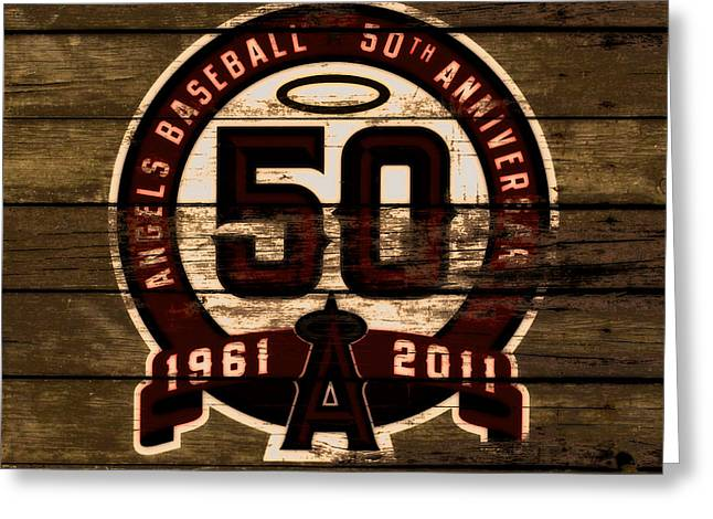The Los Angeles Angels Of Anaheim 50 Years Of Angels Baseball 2a Greeting Card