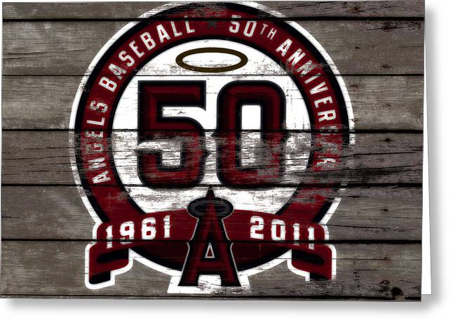 The Los Angeles Angels Of Anaheim 50 Years Of Angels Baseball Greeting Card