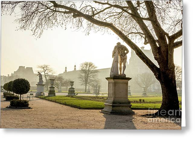 The Louvre Seen From The Garden Of The Tuileries. Paris. France. Europe. Greeting Card