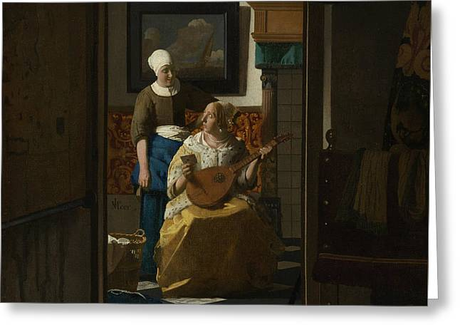 The Love Letter Greeting Card by Jan Vermeer