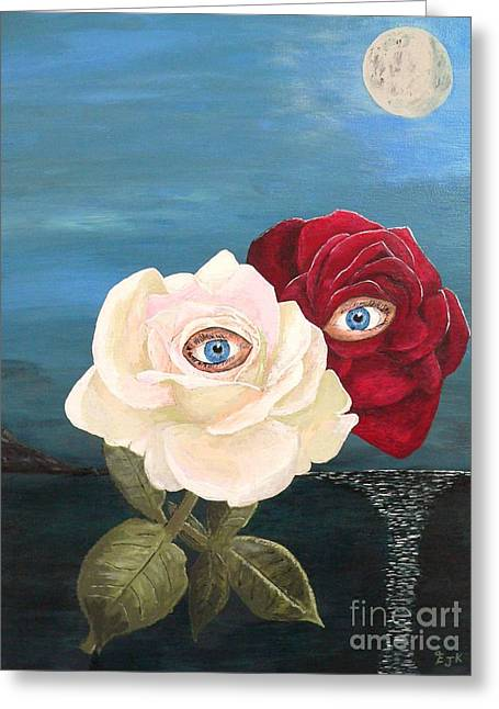 Greeting Card featuring the painting The Lovers  Roses By Night by Eric Kempson
