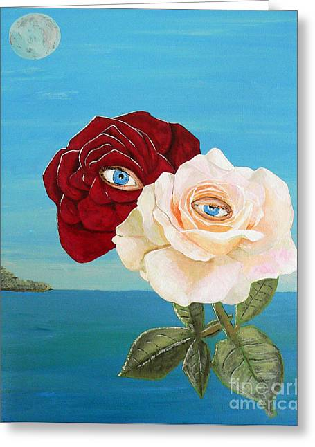 Greeting Card featuring the painting The Lovers  Roses by Eric Kempson