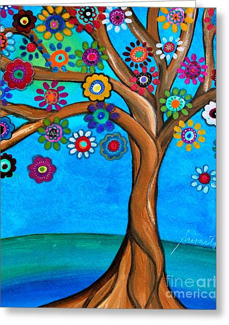 Greeting Card featuring the painting The Loving Tree Of Life by Pristine Cartera Turkus
