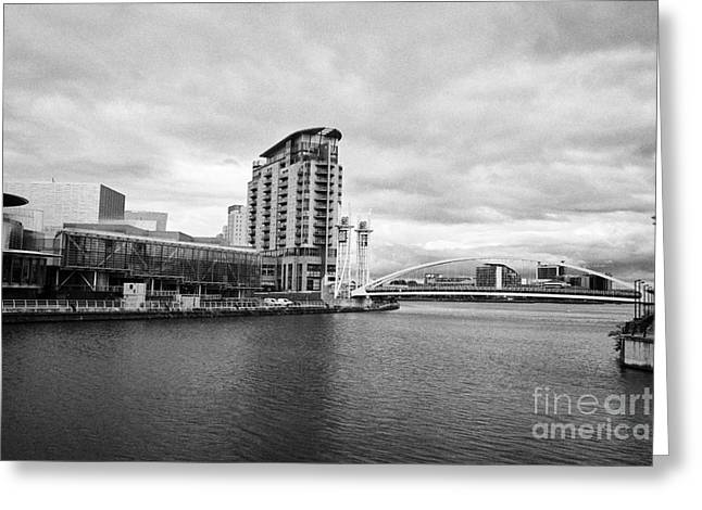 the lowry and salford quays lowry footbridge lift bridge Manchester uk Greeting Card by Joe Fox