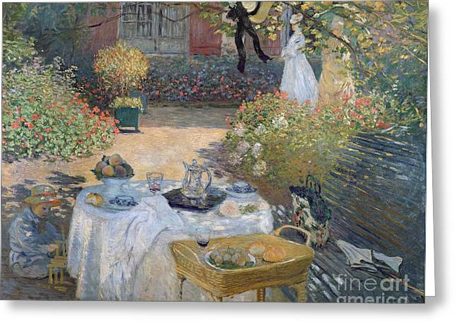 Geranium Greeting Cards - The Luncheon Greeting Card by Claude Monet