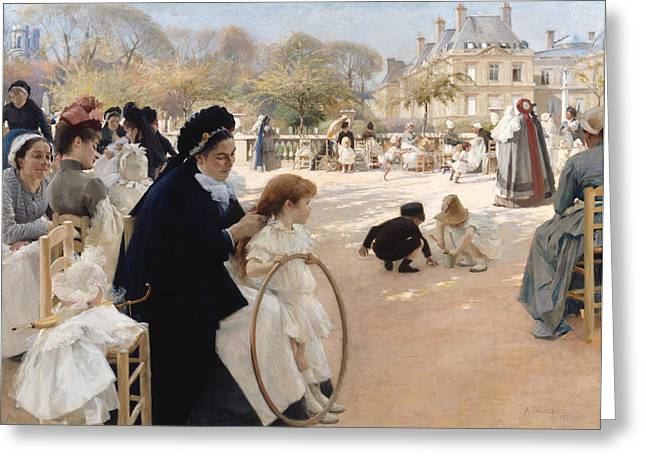 The Luxembourg Gardens, Paris Greeting Card by Albert Edelfelt