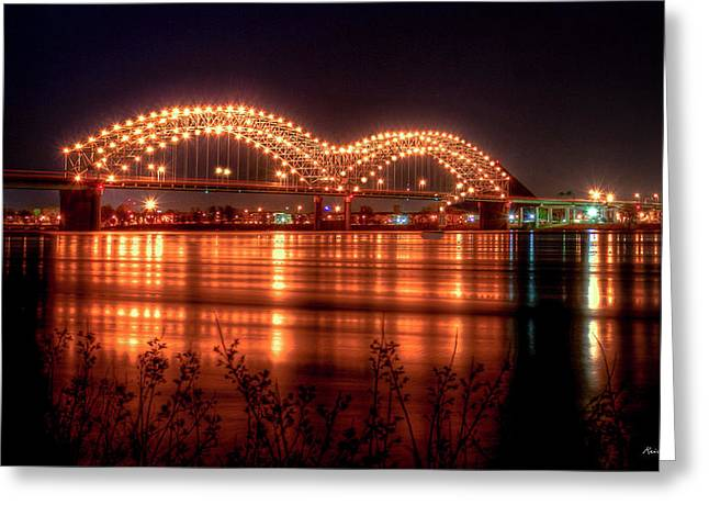 The M Bridge Memphis Tennessee Bridge Art Greeting Card by Reid Callaway