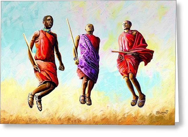 The Maasai Jump Greeting Card